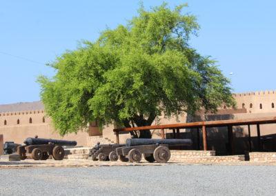 oman-rustaq-fort-hof-reise-kanonen