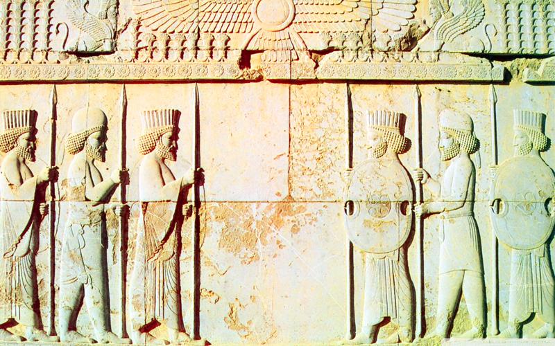 Geschichte Persiens auf Relief in Persepolis